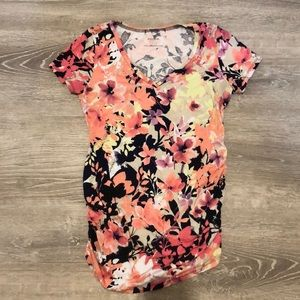 floral pink motherhood maternity ruched v neck